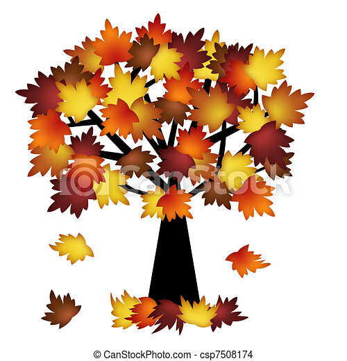 Colorful Fall Leaves on Tree - csp7508174