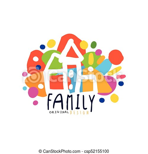 colorful family logo design with city houses colorful family logo