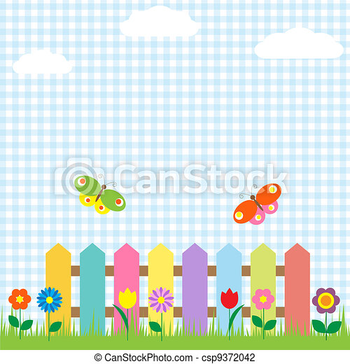 Colorful fence with flowers and butterflies - csp9372042