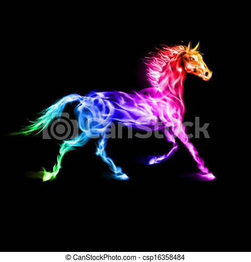 Colorful fire horse.  - csp16358484