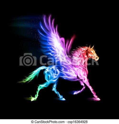 Colorful fire Pegasus. - csp16364928