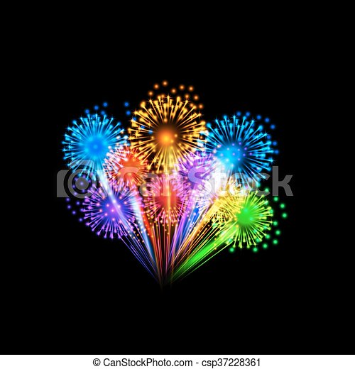 Colorful fireworks - csp37228361