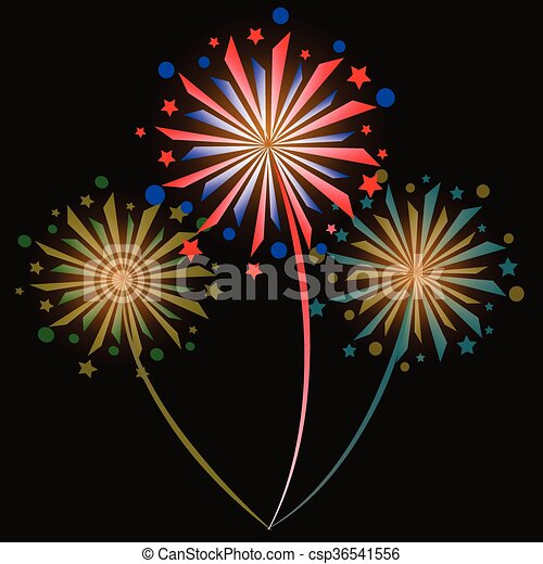 colorful fireworks - csp36541556