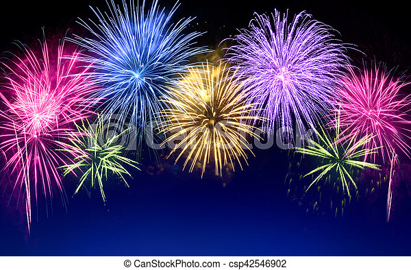 colorful fireworks display on blue csp42546902