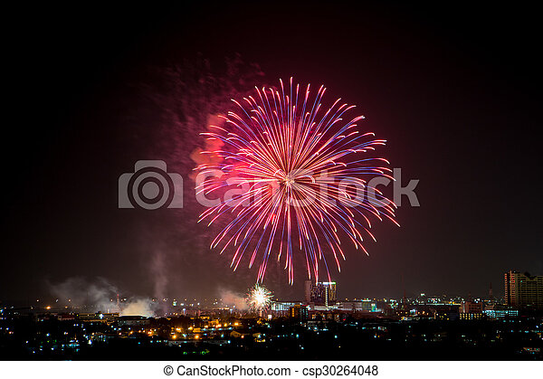 Colorful fireworks explosion in the dark sky - csp30264048