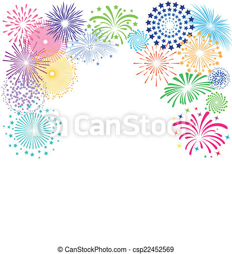 Colorful fireworks  frame on white background - csp22452569