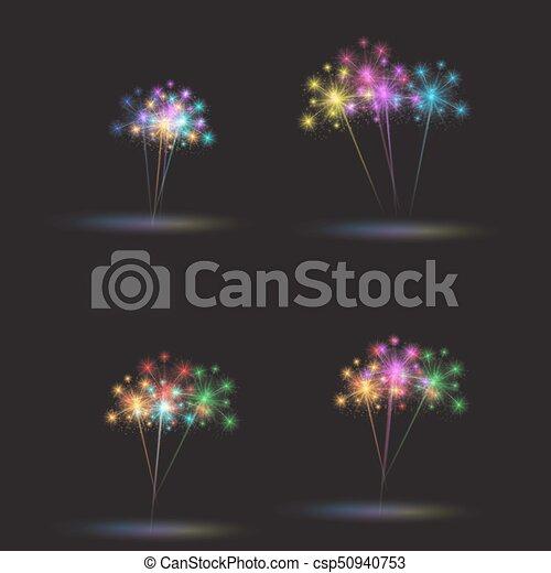 Colorful fireworks set. Vector illustration - csp50940753