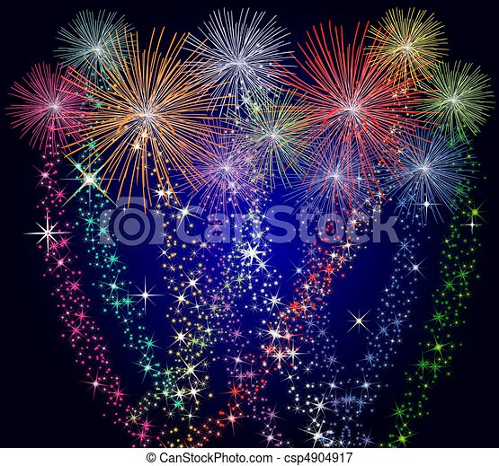 Colorful Fireworks - csp4904917