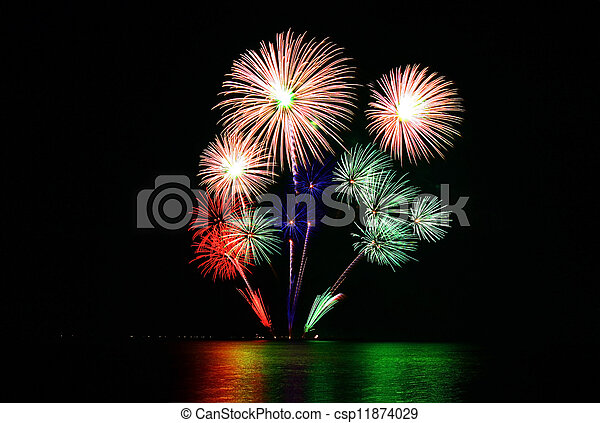 colorful fireworks - csp11874029