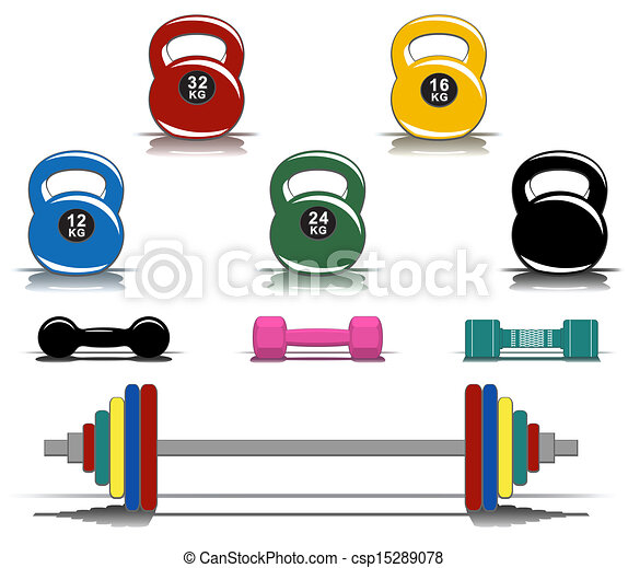 Colorful Fitness Equipment Collection Of
