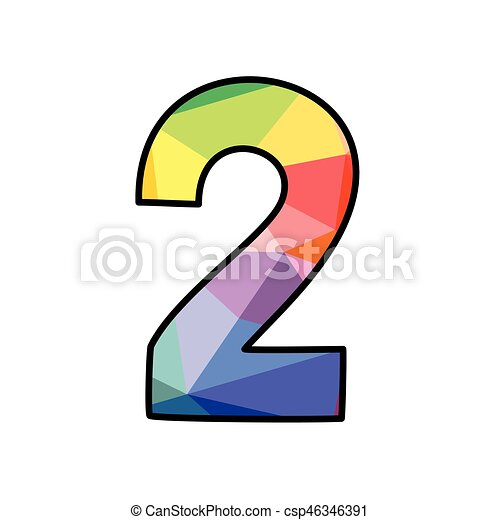 Colorful flat vector number 2 isolated on white background - csp46346391
