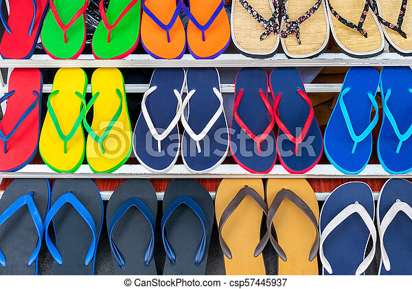 cdf6a190a49 Colorful Flip Flops Sandals on Display For Sale in a Shop - csp57445937