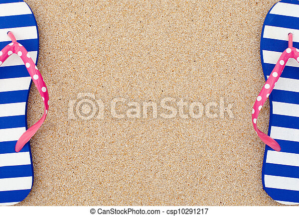 Colorful flipflop pairas a frame on beach sand stock photography ...