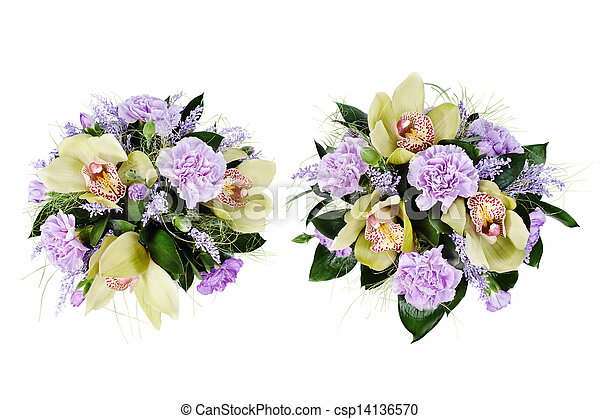 colorful floral bouquet of roses,cloves and orchids isolated on white background - csp14136570