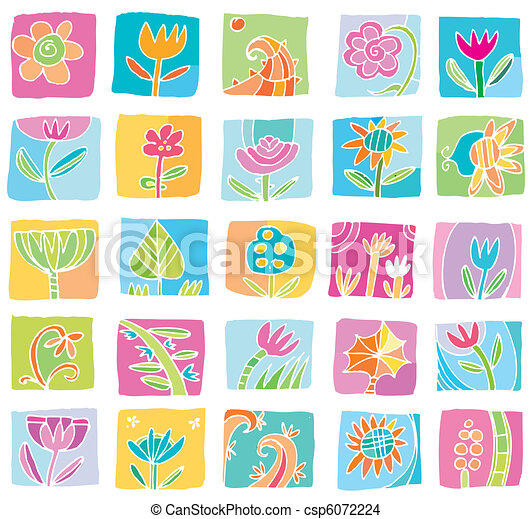 Colorful Floral icons. - csp6072224