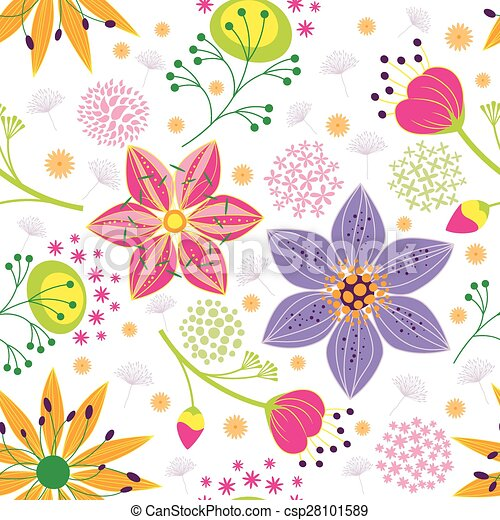 Colorful Flower Seamless Pattern Background - csp28101589