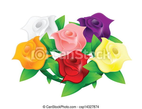 colorful flower wedding bouquet illustration - csp14327874