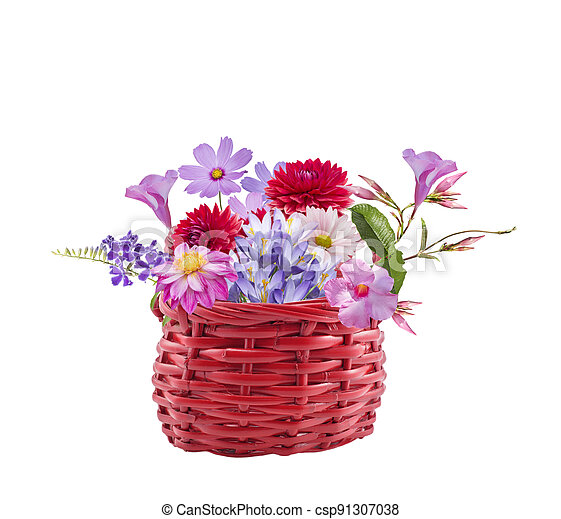 Colorful flowers in a basket on white background - csp91307038