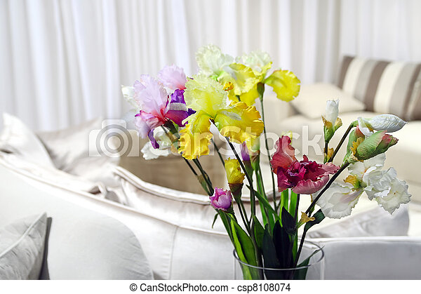colorful flowers in modern room - home decor - csp8108074