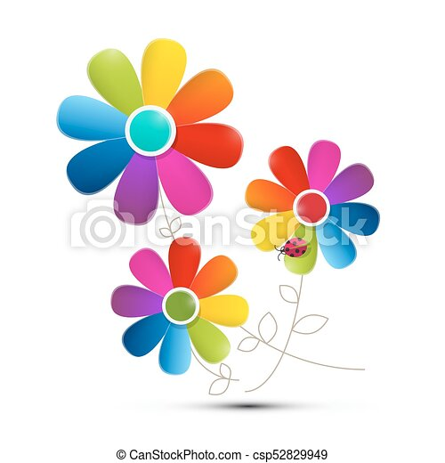 Colorful Flowers Isolated on White Background. Vector. - csp52829949