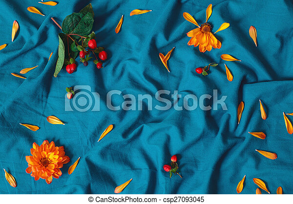 Colorful Flowers On Blue Bedsheet Colorful Mcro Closeup Background