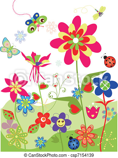 Colorful flowers set of spring - csp7154139