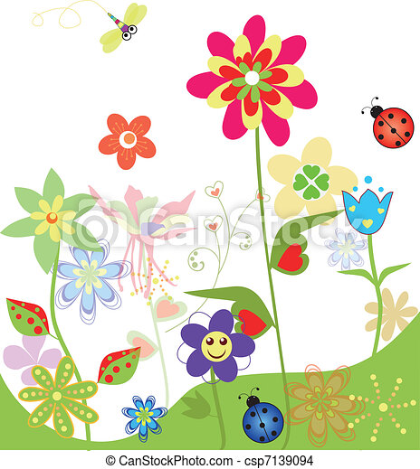 Colorful flowers set of spring illustrations - csp7139094