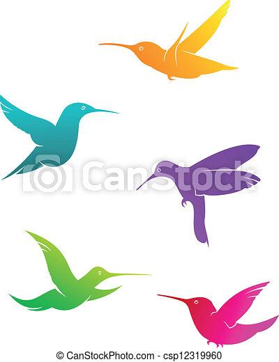 Colorful Flying Hummingbirds Set Isolated On White Background