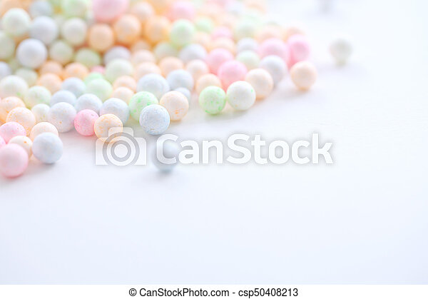 Colorful Foam ball isolated in white background - csp50408213