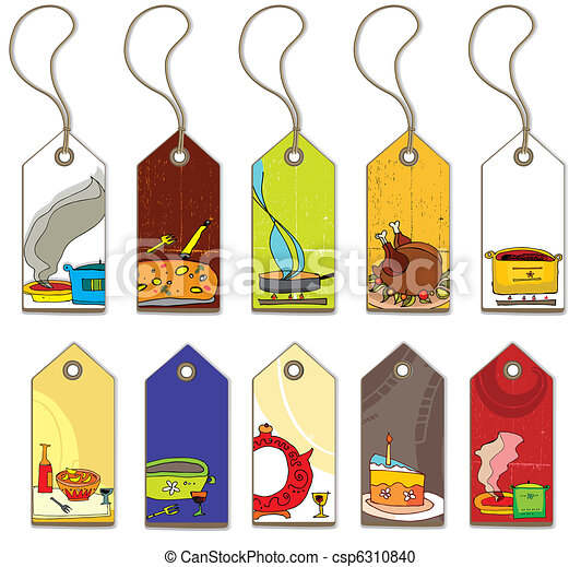 Colorful food tags.  - csp6310840