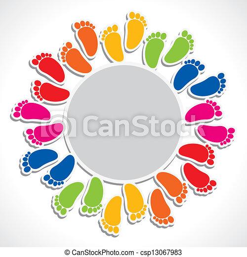 colorful foot print arrangement - csp13067983