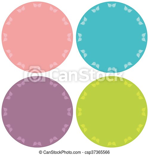 Colorful four blank stickers set