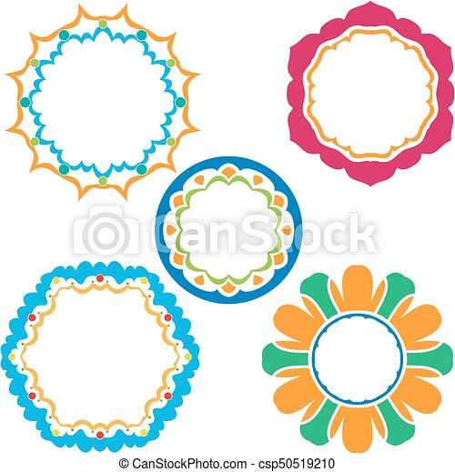 d41983ea565b Colorful frame collection isolated over white background.