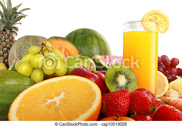 Colorful fresh Fruits and juice - csp10519028