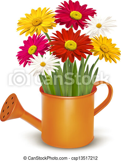 Colorful fresh spring flowers in orange watering can. Vector illustration - csp13517212