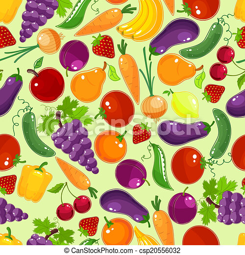 Colorful fruit and vegetables seamless pattern - csp20556032