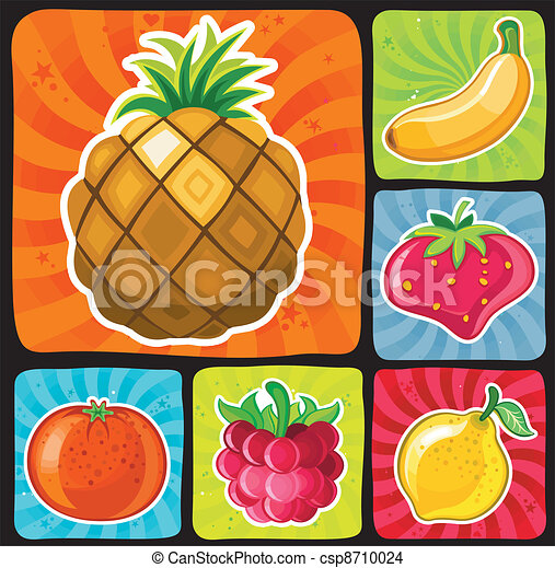 Colorful fruity icons set 1 - csp8710024