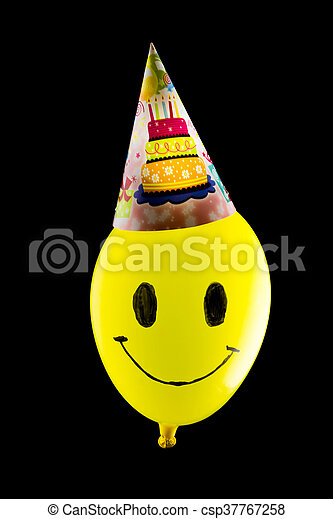 Colorful funny balloon on black background - csp37767258