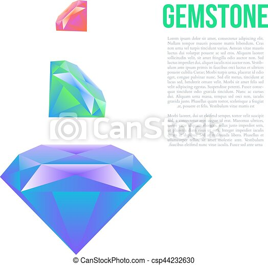 Colorful gem isolated on white background Vector - csp44232630