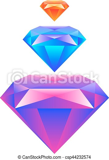 Colorful gem isolated on white background Vector - csp44232574