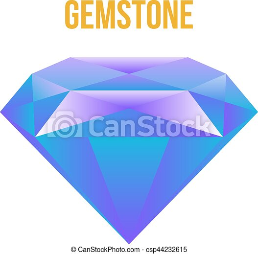 Colorful gem isolated on white background Vector - csp44232615