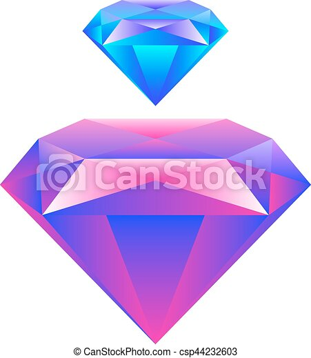 Colorful gem isolated on white background Vector - csp44232603