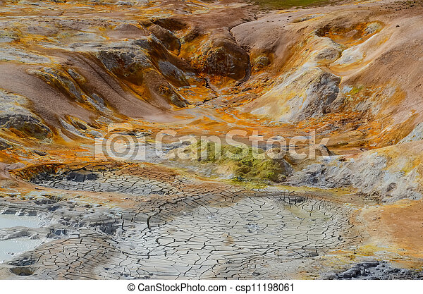 Colorful geothermal area detail, near Myvatn, Iceland - csp11198061