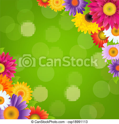 Colorful Gerbers Flowers Border With Green Bokeh - csp18991113