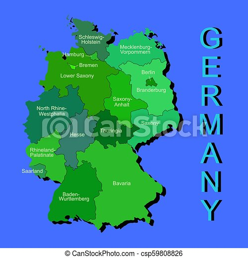 Regions Of Germany Map.Colorful Germany Political Map With Regions On Blue Background