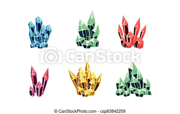 Colorful glossy crystals set, mineral stone rocks vector Illustration on a white background - csp63842259