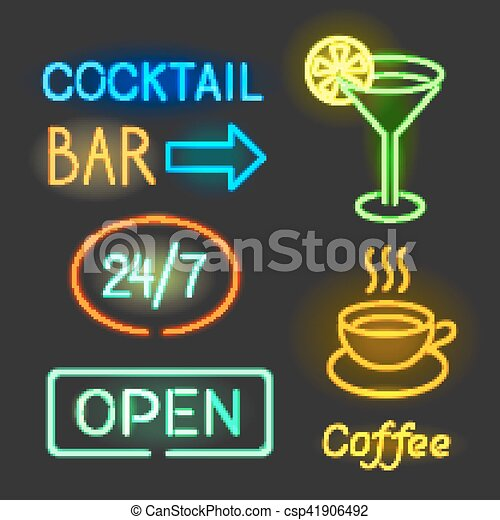 Colorful glowing neon lights graphic designs for cafe and bar signs on black background. - csp41906492