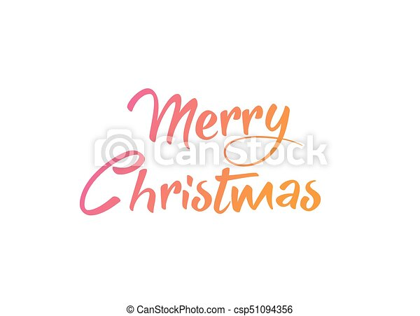 Merry Christmas Writing.Colorful Gradient Isolated Hand Writing Word Merry Christmas