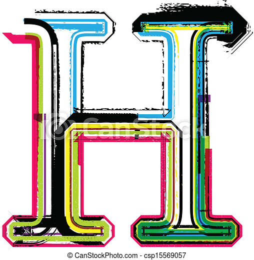 Colorful Grunge LETTER H   Csp15569057
