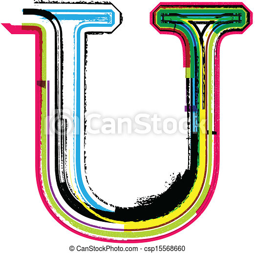 Colorful grunge letter u clip art vector - Search Drawings ...